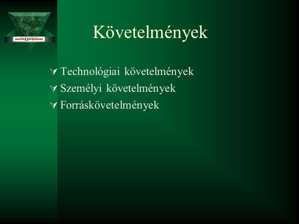 Követelmények  Technológiai követelmények  Személyi követelmények  Forráskövetelmények