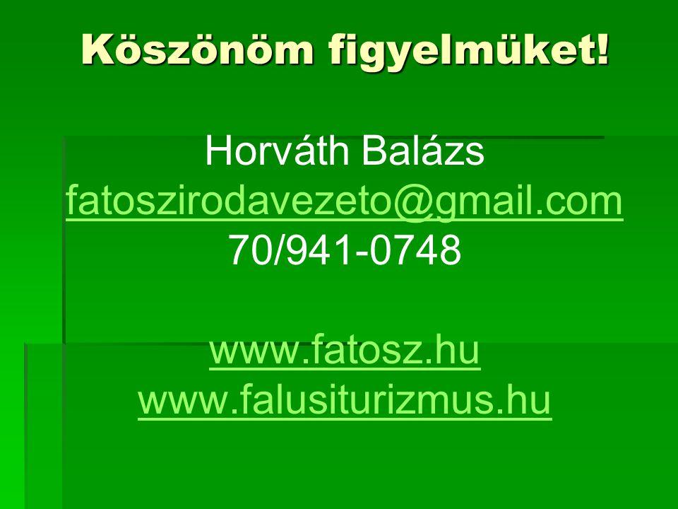Köszönöm figyelmüket! Köszönöm figyelmüket! Horváth Balázs fatoszirodavezeto@gmail.com 70/941-0748 www.fatosz.hu www.falusiturizmus.hu fatoszirodaveze