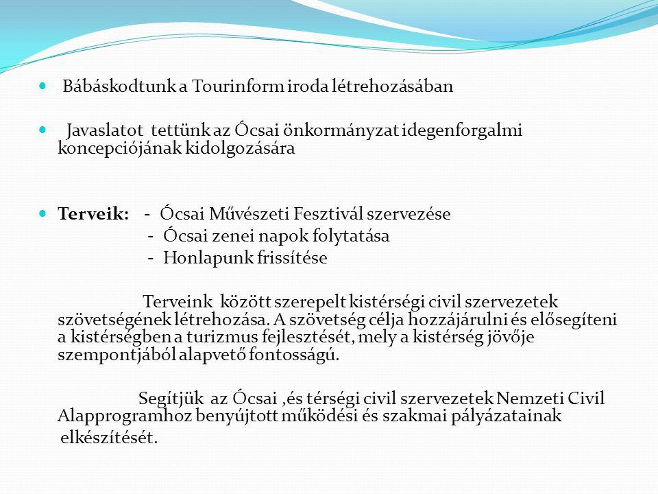 Bábáskodtunk a Tourinform iroda létrehozásában Javaslatot tettünk az Ócsai önkormányzat idegenforgalmi koncepciójának kidolgozására Terveik: - Ócsai Művészeti Fesztivál szervezése - Ócsai zenei napok folytatása - Honlapunk frissítése Terveink között szerepelt kistérségi civil szervezetek szövetségének létrehozása.