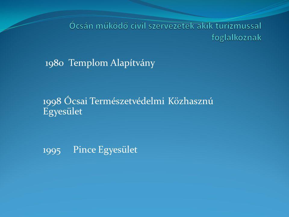 1980 Templom Alapítvány 1998 Ócsai Természetvédelmi Közhasznú Egyesület 1995 Pince Egyesület