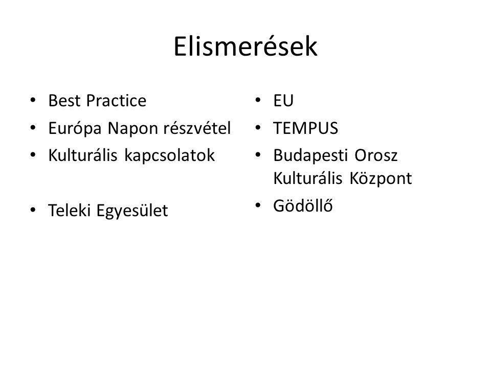Elismerések Best Practice Európa Napon részvétel Kulturális kapcsolatok Teleki Egyesület EU TEMPUS Budapesti Orosz Kulturális Központ Gödöllő