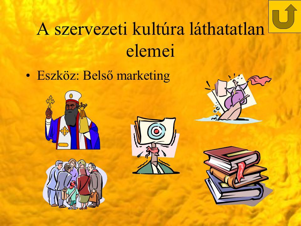 A szervezeti kultúra láthatatlan elemei Eszköz: Belső marketing