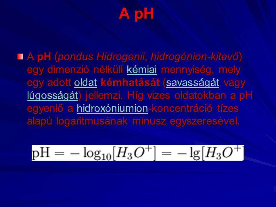 Pontos definíció A pH-ra az előbbi képlet csak híg vizes oldatokban igaz.