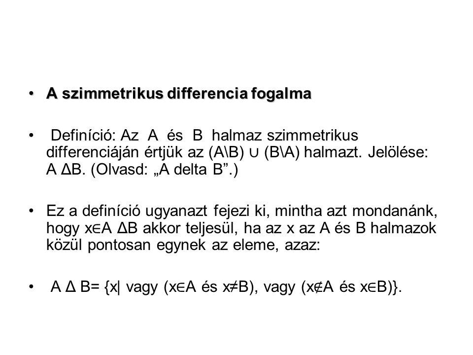A szimmetrikus differencia fogalmaA szimmetrikus differencia fogalma Definíció: Az A és B halmaz szimmetrikus differenciáján értjük az (A\B) ∪ (B\A) halmazt.