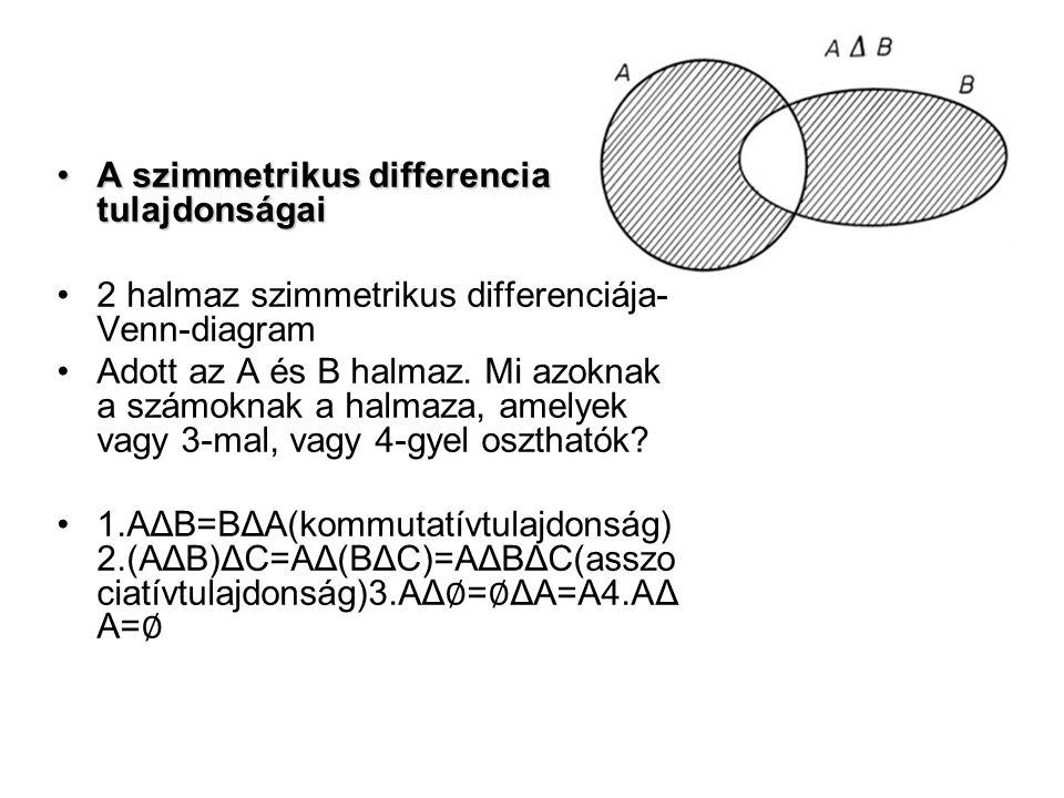 A szimmetrikus differencia tulajdonságaiA szimmetrikus differencia tulajdonságai 2 halmaz szimmetrikus differenciája- Venn-diagram Adott az A és B halmaz.