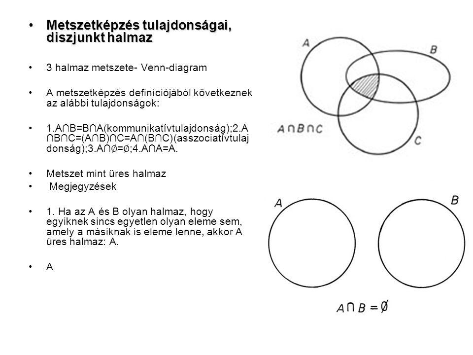 Metszetképzés tulajdonságai, diszjunkt halmazMetszetképzés tulajdonságai, diszjunkt halmaz 3 halmaz metszete- Venn-diagram A metszetképzés definíciójából következnek az alábbi tulajdonságok: 1.A∩B=B∩A(kommunikatívtulajdonság);2.A ∩B∩C=(A∩B)∩C=A∩(B∩C)(asszociatívtulaj donság);3.A∩ ∅ = ∅ ;4.A∩A=A.