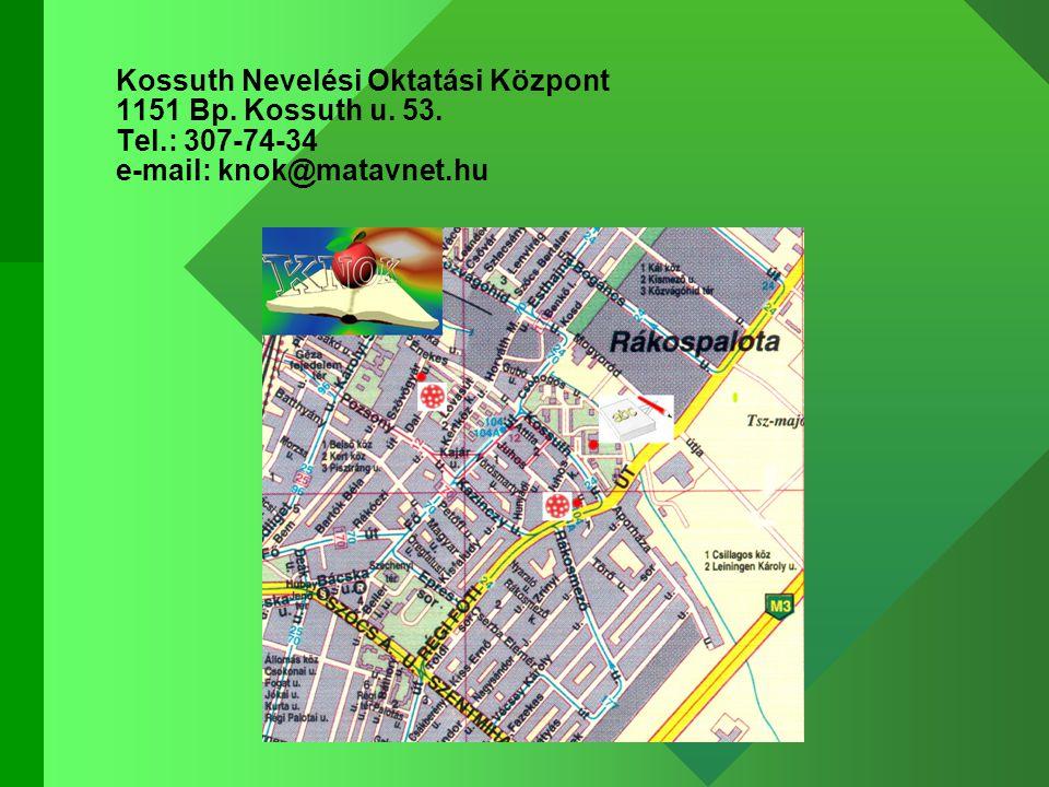 Kossuth Nevelési Oktatási Központ 1151 Bp. Kossuth u. 53. Tel.: 307-74-34 e-mail: knok@matavnet.hu