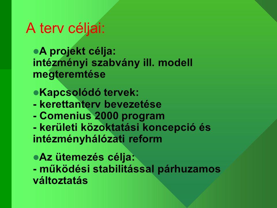 A terv céljai: A projekt célja: intézményi szabvány ill.