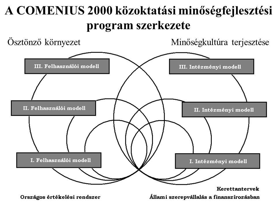 A COMENIUS 2000 közoktatási minőségfejlesztési program szerkezete Ösztönző környezet Minőségkultúra terjesztése