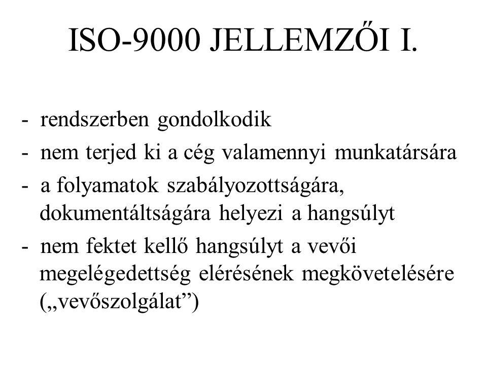 ISO-9000 JELLEMZŐI I. - rendszerben gondolkodik - nem terjed ki a cég valamennyi munkatársára - a folyamatok szabályozottságára, dokumentáltságára hel