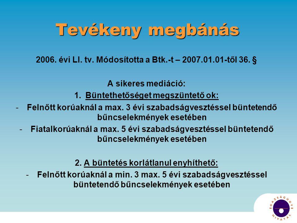 Tevékeny megbánás 2006.évi LI. tv. Módosította a Btk.-t – 2007.01.01-től 36.