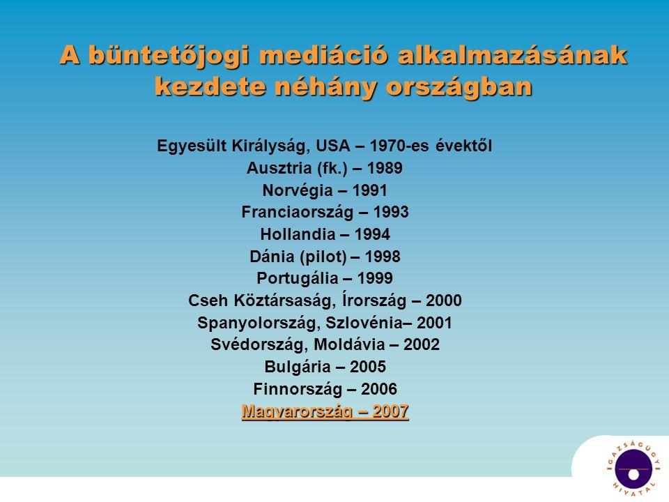 Egyesült Királyság, USA – 1970-es évektől Ausztria (fk.) – 1989 Norvégia – 1991 Franciaország – 1993 Hollandia – 1994 Dánia (pilot) – 1998 Portugália – 1999 Cseh Köztársaság, Írország – 2000 Spanyolország, Szlovénia– 2001 Svédország, Moldávia – 2002 Bulgária – 2005 Finnország – 2006 Magyarország – 2007 A büntetőjogi mediáció alkalmazásának kezdete néhány országban