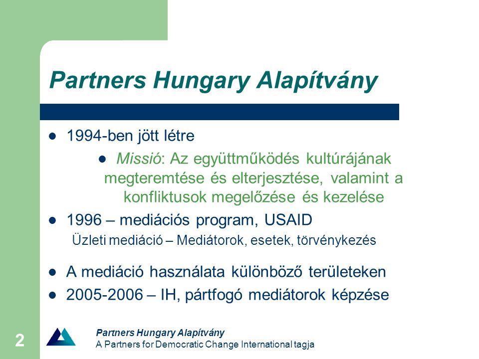 Partners Hungary Alapítvány A Partners for Democratic Change International tagja 2 Partners Hungary Alapítvány 1994-ben jött létre Missió: Az együttműködés kultúrájának megteremtése és elterjesztése, valamint a konfliktusok megelőzése és kezelése 1996 – mediációs program, USAID Üzleti mediáció – Mediátorok, esetek, törvénykezés A mediáció használata különböző területeken 2005-2006 – IH, pártfogó mediátorok képzése