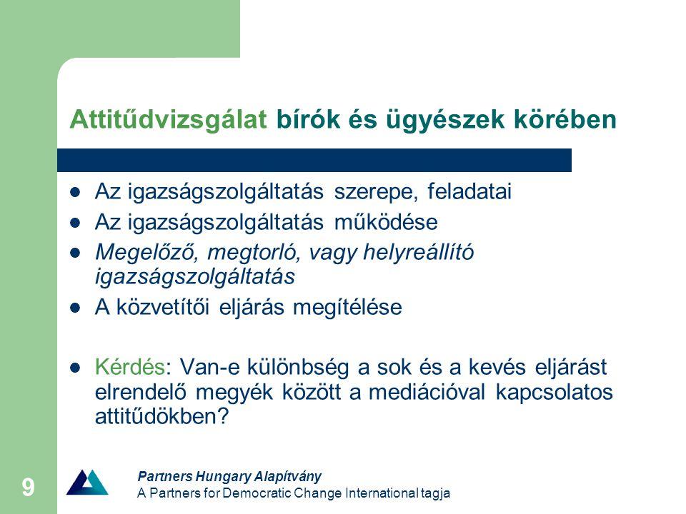 Partners Hungary Alapítvány A Partners for Democratic Change International tagja 9 Attitűdvizsgálat bírók és ügyészek körében Az igazságszolgáltatás szerepe, feladatai Az igazságszolgáltatás működése Megelőző, megtorló, vagy helyreállító igazságszolgáltatás A közvetítői eljárás megítélése Kérdés: Van-e különbség a sok és a kevés eljárást elrendelő megyék között a mediációval kapcsolatos attitűdökben?