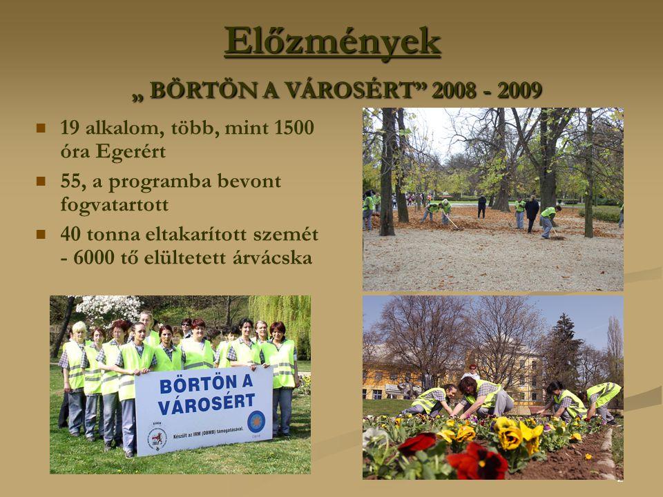 """2 Előzmények """" BÖRTÖN A VÁROSÉRT 2008 - 2009 19 alkalom, több, mint 1500 óra Egerért 55, a programba bevont fogvatartott 40 tonna eltakarított szemét - 6000 tő elültetett árvácska"""