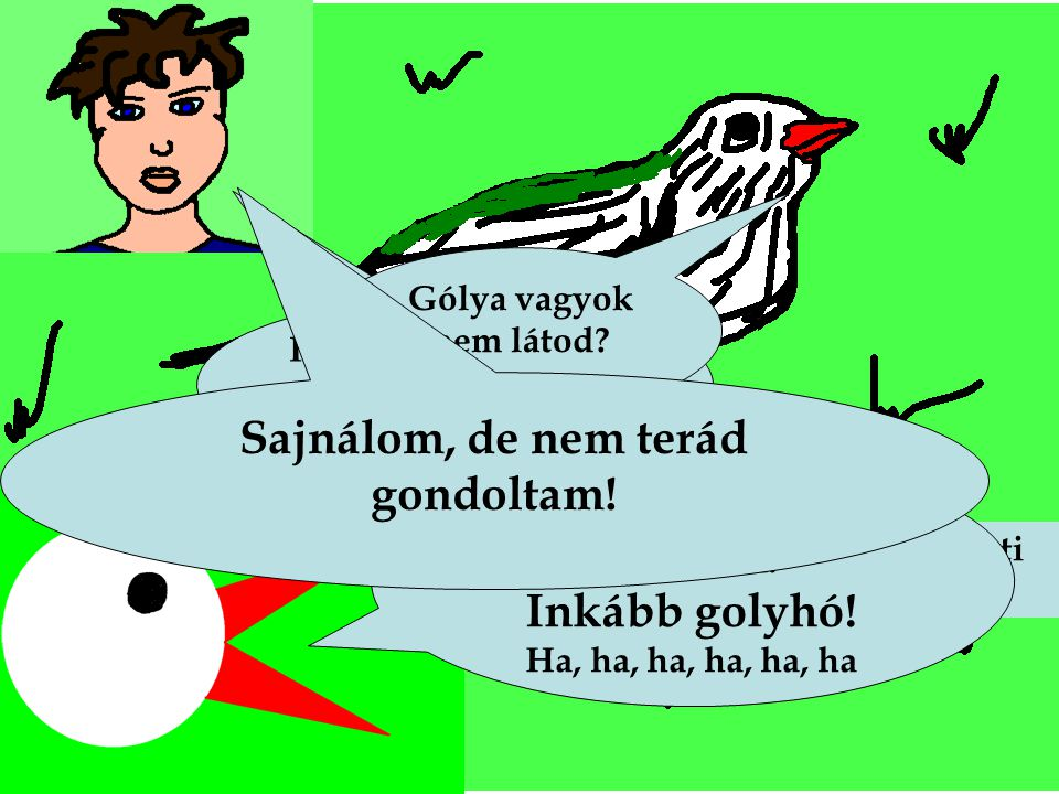 Egy hét múlva a feketerigó úgy gondolta, hogy ha gólyává festi magát, akkor kelleni fog a kisfiúnak. Hát te miféle szerzet vagy? Gólya vagyok nem láto