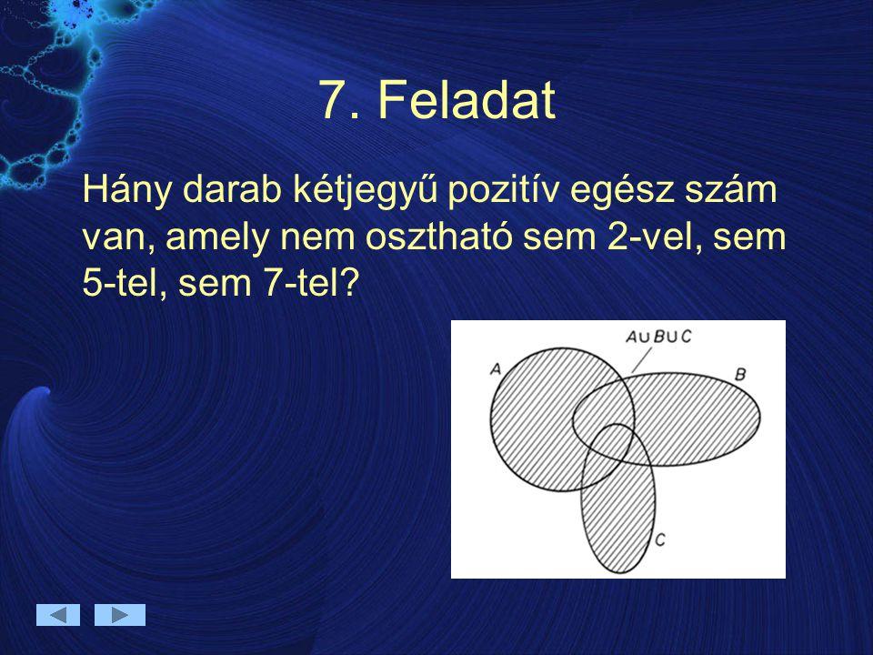 7. Feladat Hány darab kétjegyű pozitív egész szám van, amely nem osztható sem 2-vel, sem 5-tel, sem 7-tel?