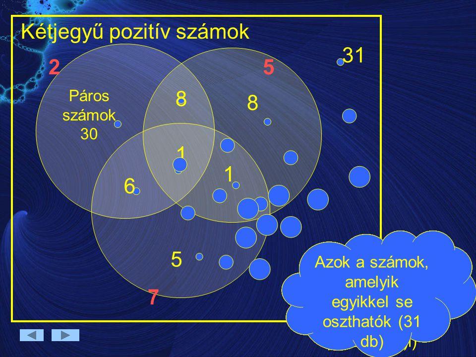25 7 Kétjegyű pozitív számok Azok a számok, amely 2-vel, 5- tel és 7-tel osztható. (csak 1 a 70-es) 1 Azok a számok, amelyek 2-vel és 5-tel oszthatók