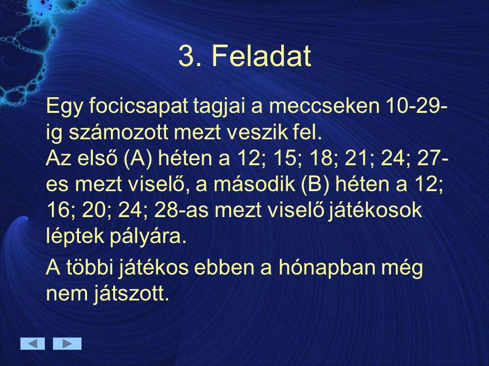 3. Feladat Egy focicsapat tagjai a meccseken 10-29- ig számozott mezt veszik fel. Az első (A) héten a 12; 15; 18; 21; 24; 27- es mezt viselő, a másodi