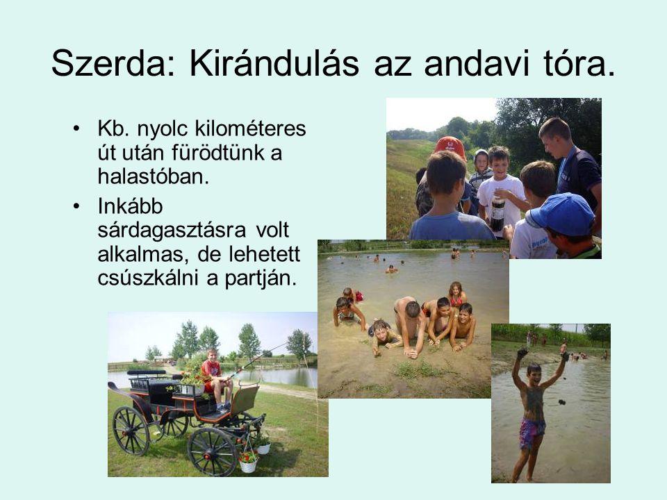 Szerda: Kirándulás az andavi tóra. Kb. nyolc kilométeres út után fürödtünk a halastóban.