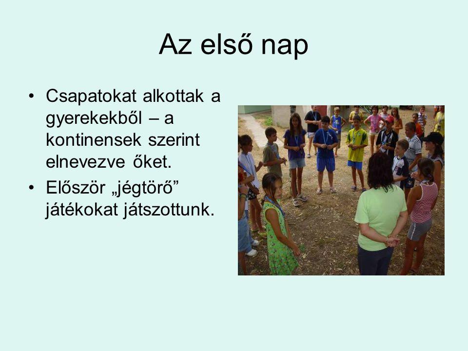 Az első nap Csapatokat alkottak a gyerekekből – a kontinensek szerint elnevezve őket.