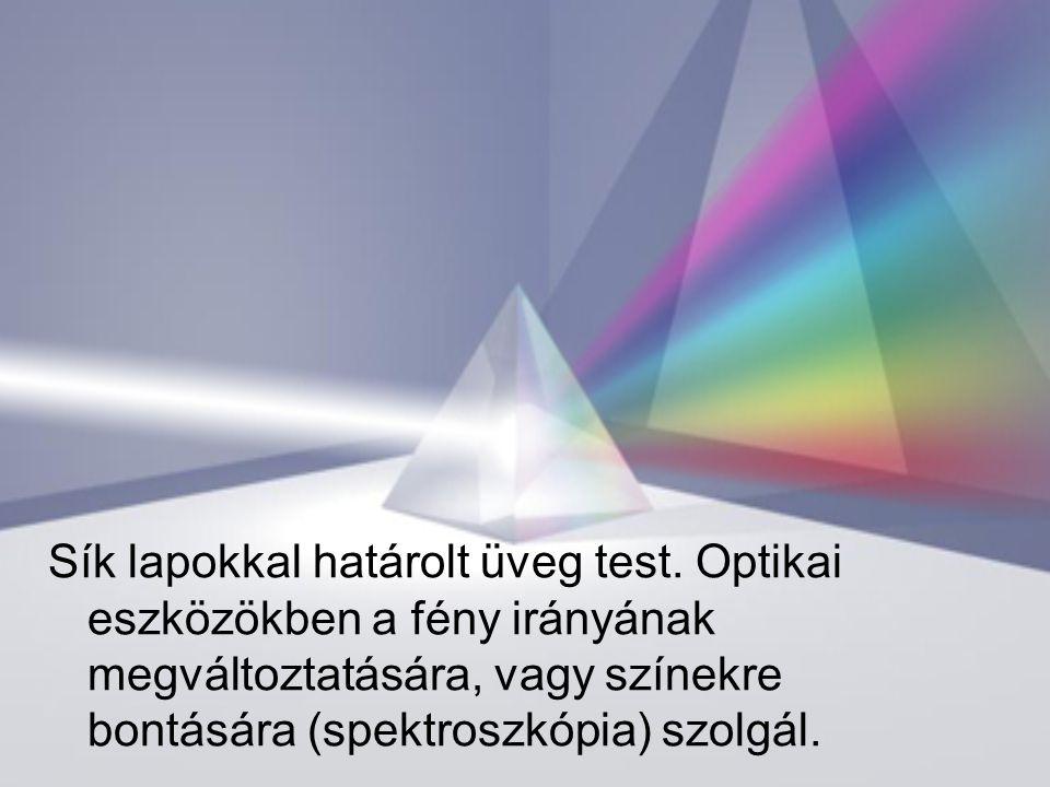 Sík lapokkal határolt üveg test. Optikai eszközökben a fény irányának megváltoztatására, vagy színekre bontására (spektroszkópia) szolgál.