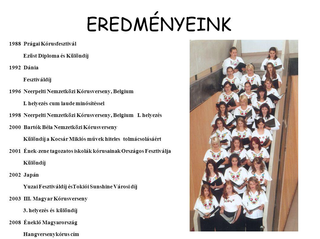 EREDMÉNYEINK 1988 Prágai Kórusfesztivál Ezüst Diploma és Különdíj 1992 Dánia Fesztiváldíj 1996 Neerpelti Nemzetközi Kórusverseny, Belgium I. helyezés