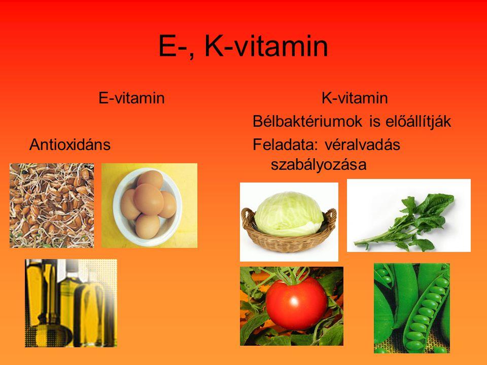 E-, K-vitamin E-vitamin Antioxidáns K-vitamin Bélbaktériumok is előállítják Feladata: véralvadás szabályozása