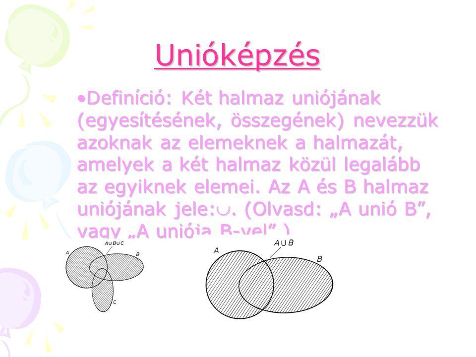 Unióképzés Definíció: Két halmaz uniójának (egyesítésének, összegének) nevezzük azoknak az elemeknek a halmazát, amelyek a két halmaz közül legalább a