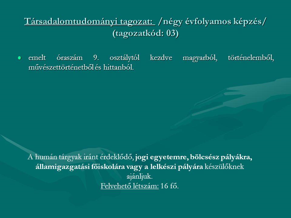Társadalomtudományi tagozat: /négy évfolyamos képzés/ (tagozatkód: 03)  emelt óraszám 9. osztálytól kezdve magyarból, történelemből, művészettörténet