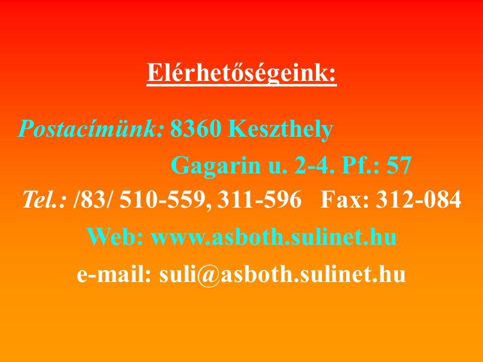 Elérhetőségeink: Postacímünk: 8360 Keszthely Gagarin u.
