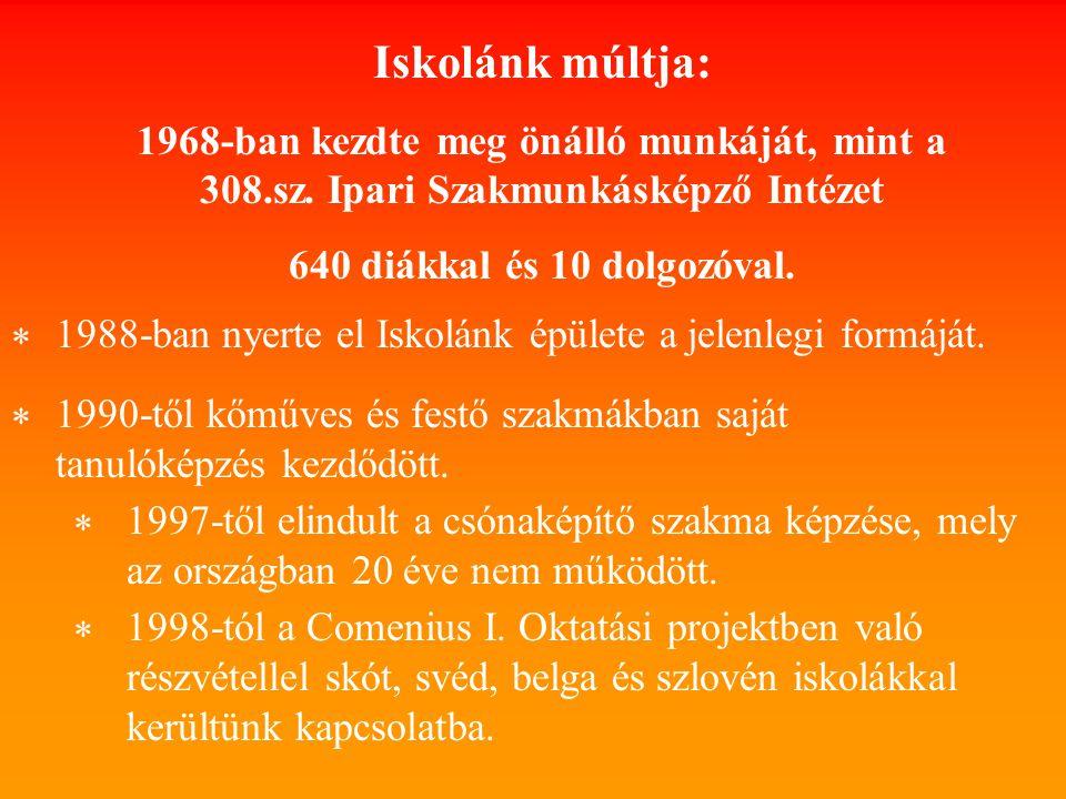 Iskolánk múltja: 1968-ban kezdte meg önálló munkáját, mint a 308.sz.