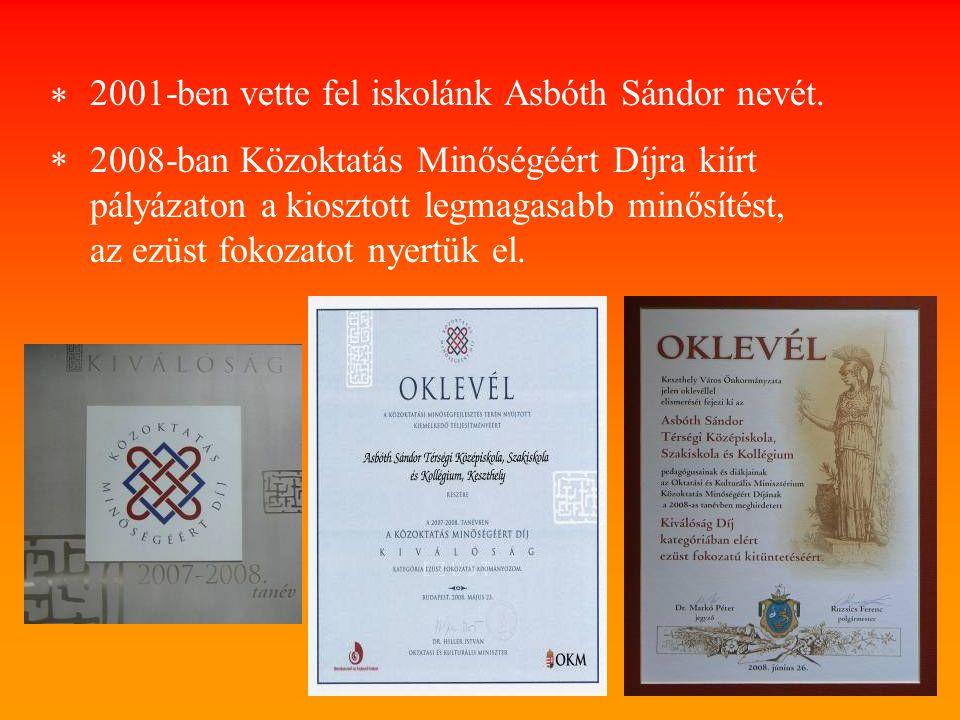 2001-ben vette fel iskolánk Asbóth Sándor nevét.