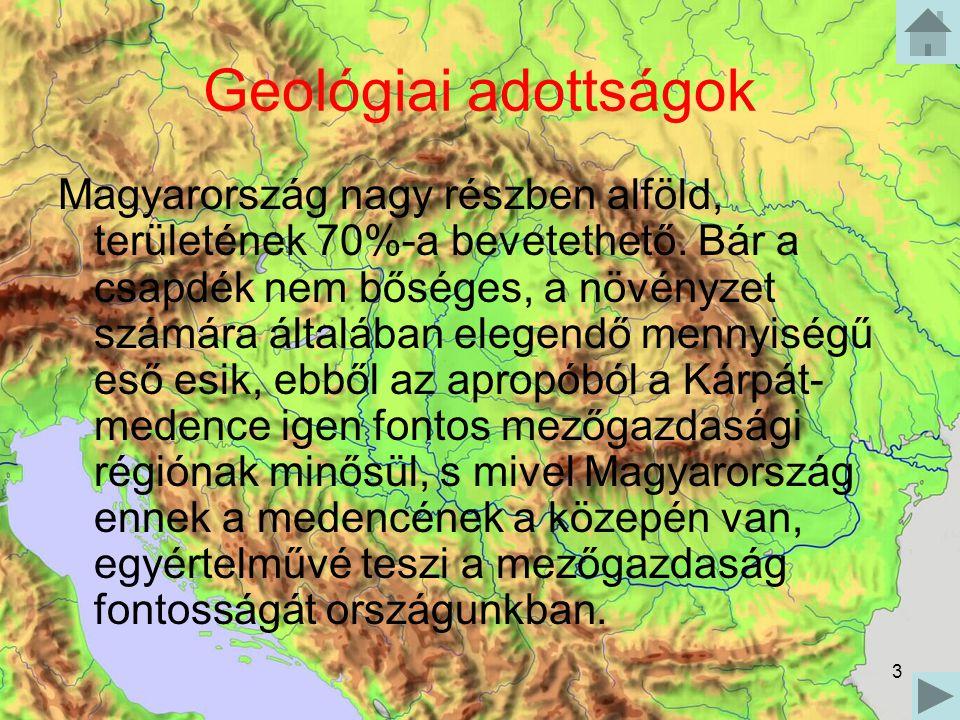 3 Geológiai adottságok Magyarország nagy részben alföld, területének 70%-a bevetethető. Bár a csapdék nem bőséges, a növényzet számára általában elege