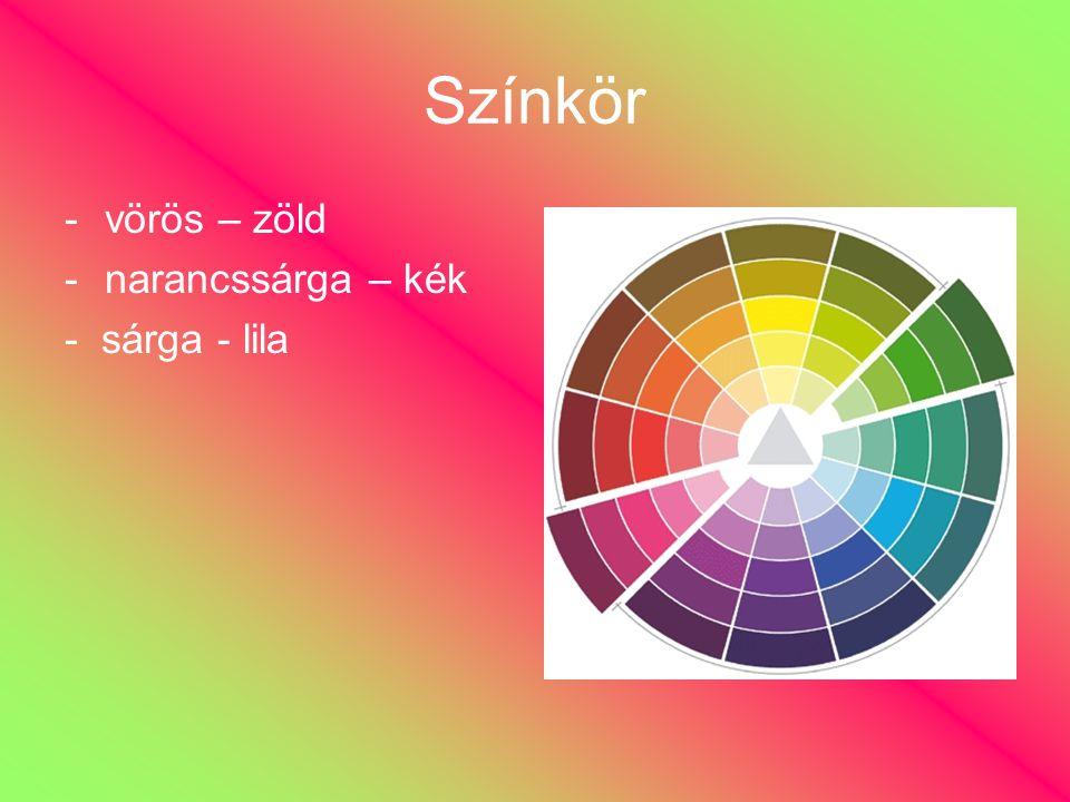 Színkör -vörös – zöld -narancssárga – kék - sárga - lila