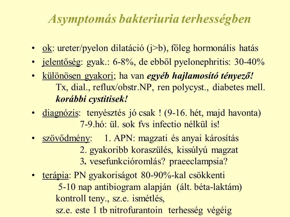 Asymptomás bakteriuria terhességben ok: ureter/pyelon dilatáció (j>b), főleg hormonális hatás jelentőség: gyak.: 6-8%, de ebből pyelonephritis: 30-40% különösen gyakori; ha van egyéb hajlamosító tényező.
