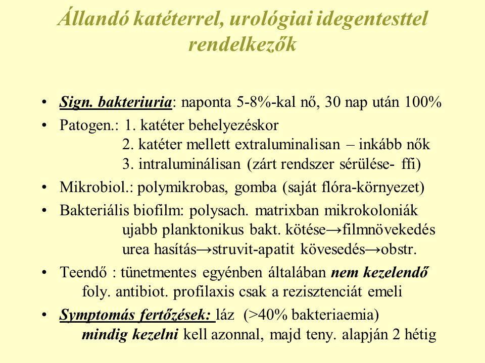 Állandó katéterrel, urológiai idegentesttel rendelkezők Sign.