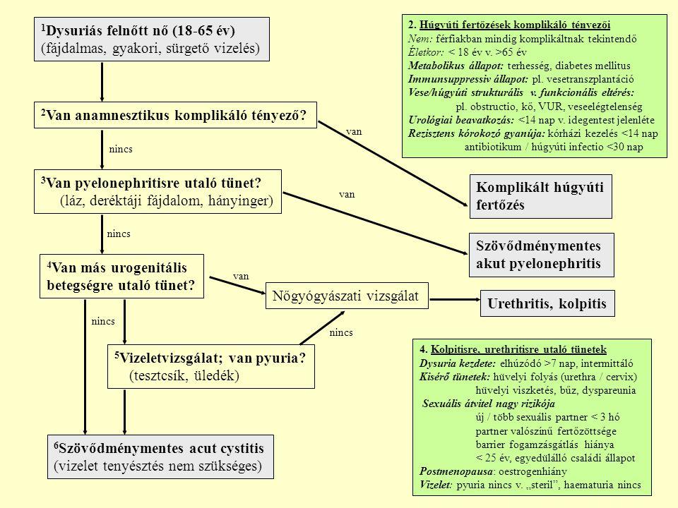1 Dysuriás felnőtt nő (18-65 év) (fájdalmas, gyakori, sürgető vizelés) 2 Van anamnesztikus komplikáló tényező.