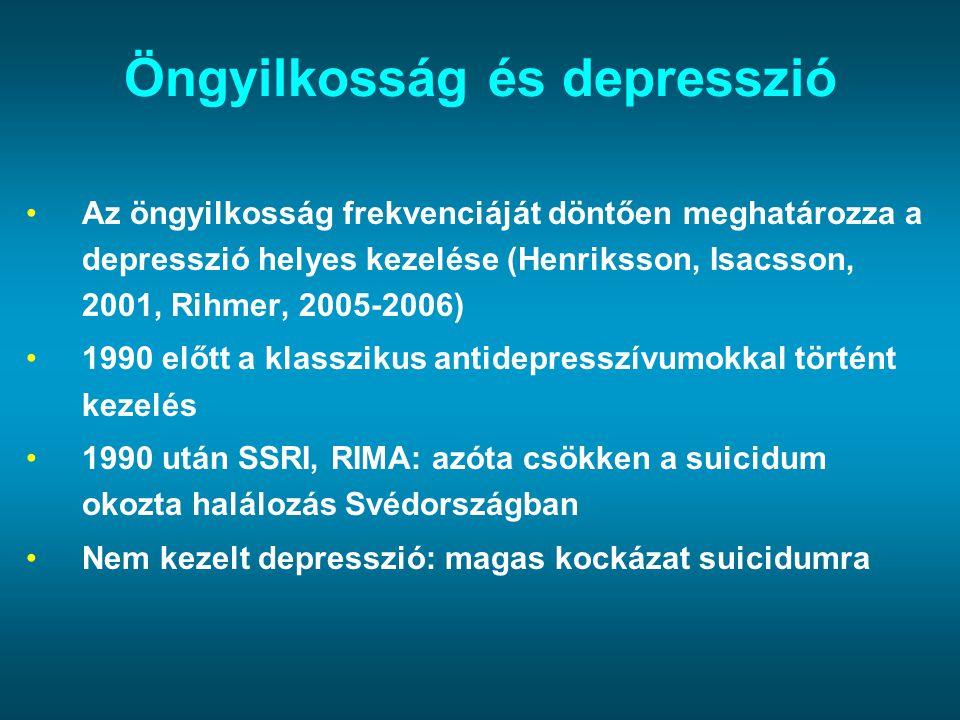 Öngyilkosság és depresszió Az öngyilkosság frekvenciáját döntően meghatározza a depresszió helyes kezelése (Henriksson, Isacsson, 2001, Rihmer, 2005-2