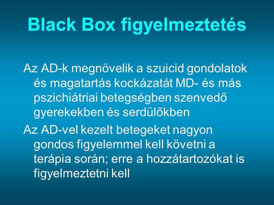 Black Box figyelmeztetés Az AD-k megnövelik a szuicid gondolatok és magatartás kockázatát MD- és más pszichiátriai betegségben szenvedő gyerekekben és