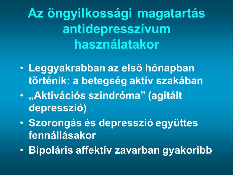 """Az öngyilkossági magatartás antidepresszívum használatakor Leggyakrabban az első hónapban történik: a betegség aktív szakában """"Aktivációs szindróma"""" ("""