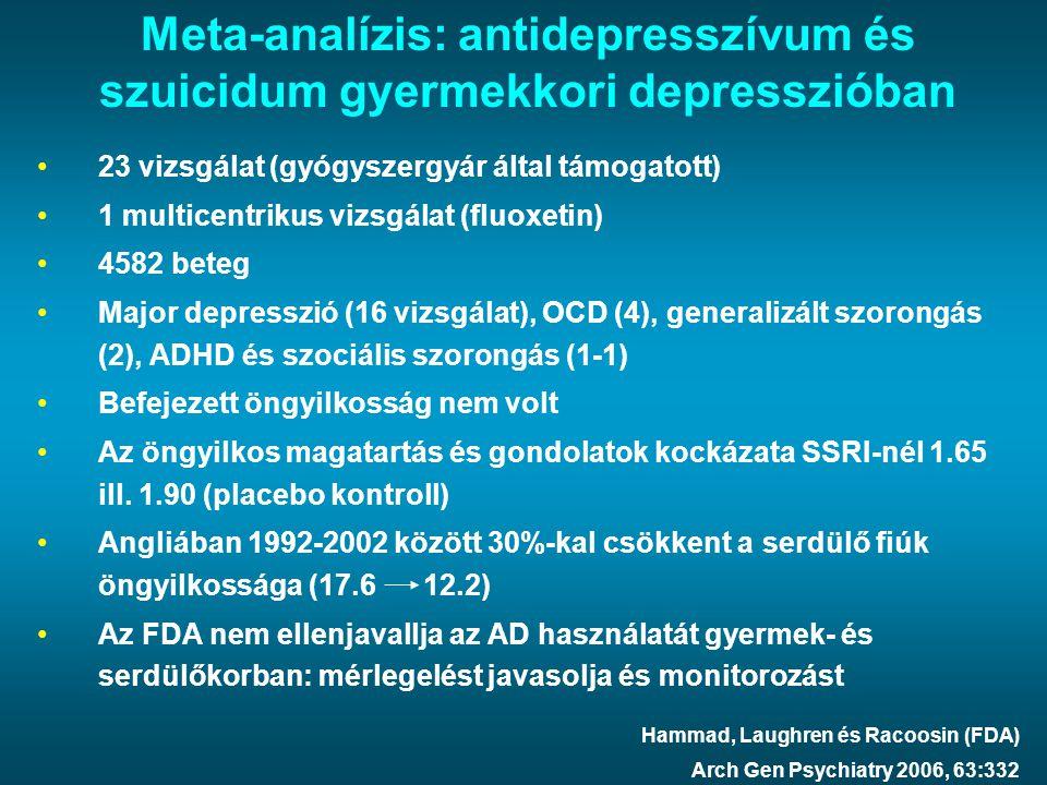 Meta-analízis: antidepresszívum és szuicidum gyermekkori depresszióban 23 vizsgálat (gyógyszergyár által támogatott) 1 multicentrikus vizsgálat (fluox