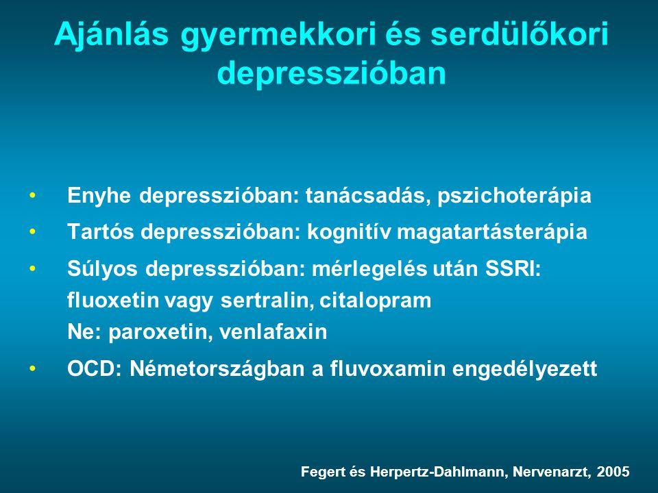 Ajánlás gyermekkori és serdülőkori depresszióban Enyhe depresszióban: tanácsadás, pszichoterápia Tartós depresszióban: kognitív magatartásterápia Súly