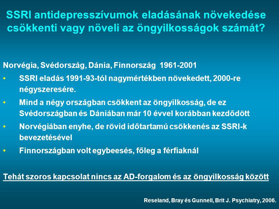 SSRI antidepresszívumok eladásának növekedése csökkenti vagy növeli az öngyilkosságok számát? Norvégia, Svédország, Dánia, Finnország 1961-2001 SSRI e