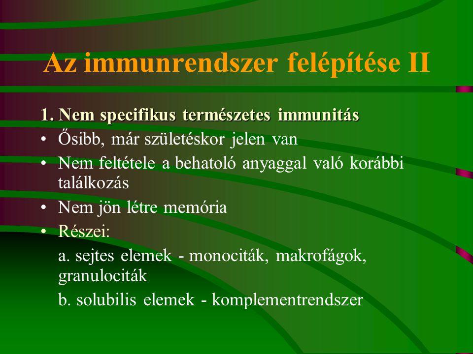 Az immunrendszer felépítése II 1. Nem specifikus természetes immunitás Ősibb, már születéskor jelen van Nem feltétele a behatoló anyaggal való korábbi