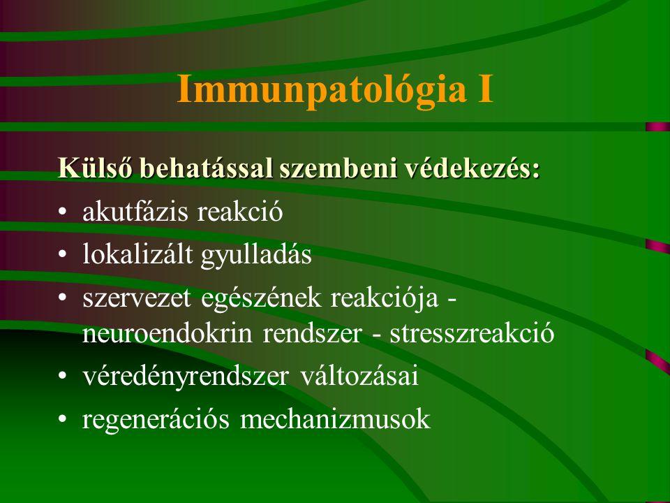 Immunpatológia I Külső behatással szembeni védekezés: akutfázis reakció lokalizált gyulladás szervezet egészének reakciója - neuroendokrin rendszer -