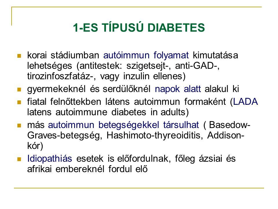 1-ES TÍPUSÚ DIABETES korai stádiumban autóimmun folyamat kimutatása lehetséges (antitestek: szigetsejt-, anti-GAD-, tirozinfoszfatáz-, vagy inzulin el