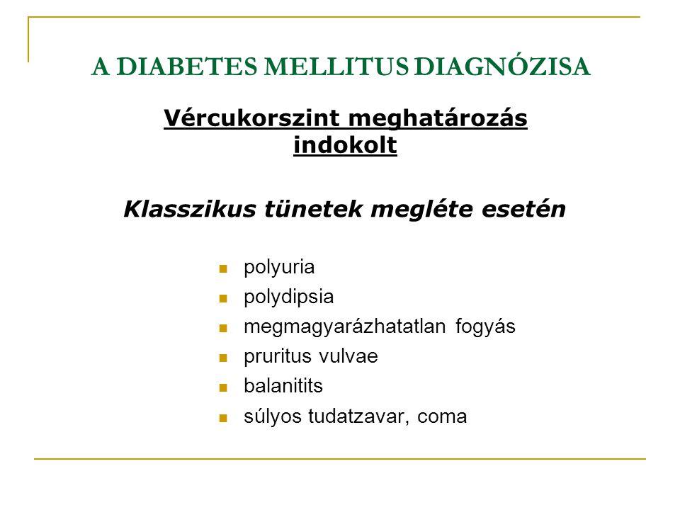 A DIABETES MELLITUS DIAGNÓZISA polyuria polydipsia megmagyarázhatatlan fogyás pruritus vulvae balanitits súlyos tudatzavar, coma Klasszikus tünetek me