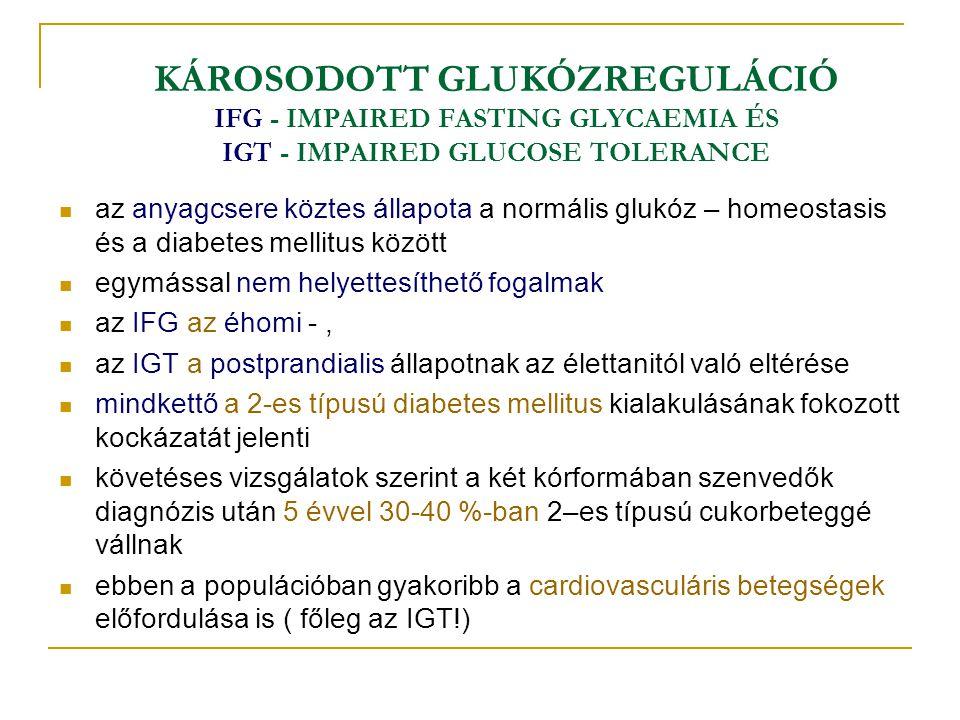 KÁROSODOTT GLUKÓZREGULÁCIÓ IFG - IMPAIRED FASTING GLYCAEMIA ÉS IGT - IMPAIRED GLUCOSE TOLERANCE az anyagcsere köztes állapota a normális glukóz – home