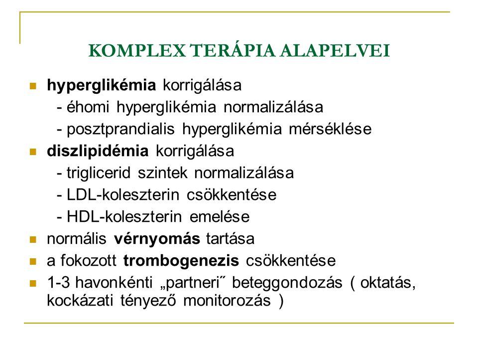KOMPLEX TERÁPIA ALAPELVEI hyperglikémia korrigálása - éhomi hyperglikémia normalizálása - posztprandialis hyperglikémia mérséklése diszlipidémia korri